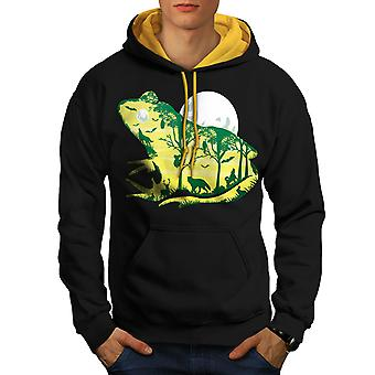 Frog Moon Nature Fantasy Men Black (Gold Hood)Contrast Hoodie | Wellcoda