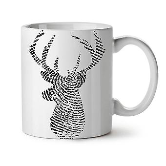 Deer Finger Print Animal NEW White Tea Coffee Ceramic Mug 11 oz | Wellcoda