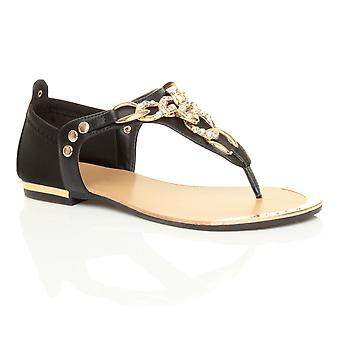 Ajvani womens flat low heel diamante gold chain t-bar toe post summer sandals