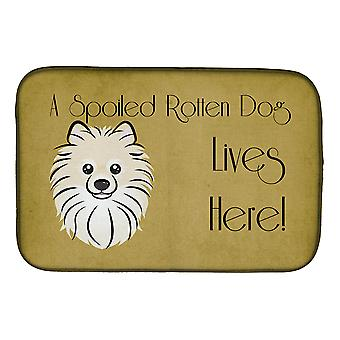Carolines aarteita BB1455DDM Pomeranian hemmoteltu koira täällä asuu lautasen kuivaus Mat