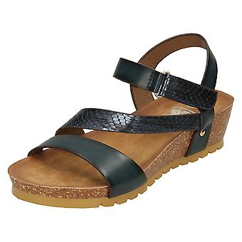 Ladies Down To Earth Mid Wedge Y Strap Sandals F10714