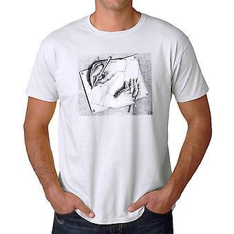 M.C. Escher Drawing Hands Men's White T-shirt