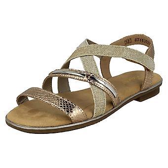 Tytöt Rieker Casual Strappy sandaalit K0850-31 - Rosa synteettinen - UK koko 1 - EU: N kokoa 33 - US koko 2