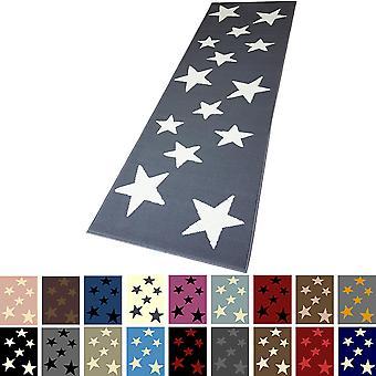 Modern runner carpet bridge carpet runner star of stars various colours 80 x 250 cm