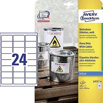 Avery-Zweckform J4773-10 etiketten 63,5 x 33.9 mm Polyester film wit 240 PC('s) permanente All-purpose etiketten, weerbestendige etiketten