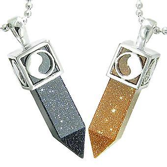 Positiv energi Yin Yang kjærlighet par sett magiske amuletter Crystal poeng blå gull stein halskjeder