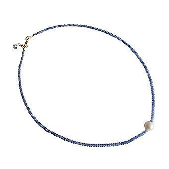 Gemshine - damer - kjede - Safirglass - bead - gull belagt 45 cm - blå - hvit-