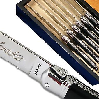 Laguiole cuchillos para carne negro de lujo ABS con hoja dentada de micro-Dirigir desde Francia