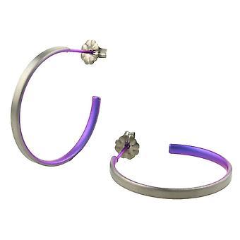 Ti2 Titanium Medium Hoop Øreringe - kejserlig lilla