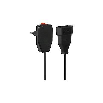 VB rallonge cordon fiche coudée + interrupteur marche/arrêt 3 m noir