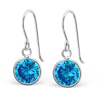 Round - 925 Sterling Silver Cubic Zirconia Earrings - W24250x