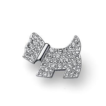 Oliver Weber Brooch Doggy Rhodium Crystal