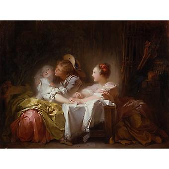 A Kiss Won, Jean Honore Fragonard, 50x40cm