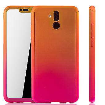 Huawei mate 20 Lite mobile phone shell protection case full cover tank protection glass yellow / pink