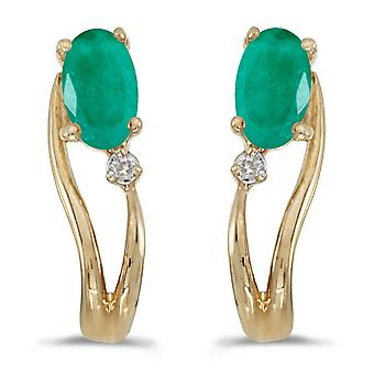 LXR 14k keltainen kulta soikea smaragdi ja timantti aalto korvakorut 0.32ct