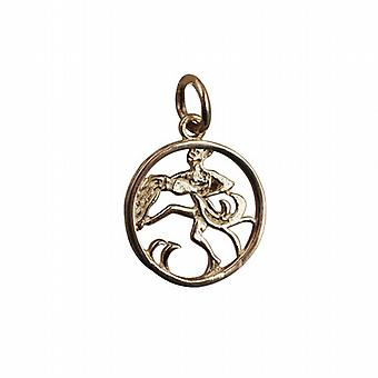 9ct Gold 11mm pierced Aquarius Zodiac Pendant