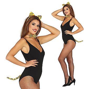 Womens Girls 3 pezzi Tiger Set costume accessorio