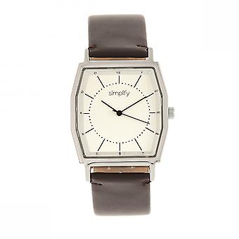 Simplify The 5400 Leather-Band Watch - Silver/Dark Brown