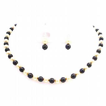 Swarovski Golden Black Pearls FashionJewelryForEveryone.com
