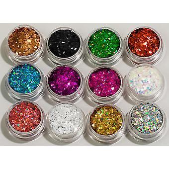 12pcs cans Glitter Rhombus/Diamonds 1x2mm