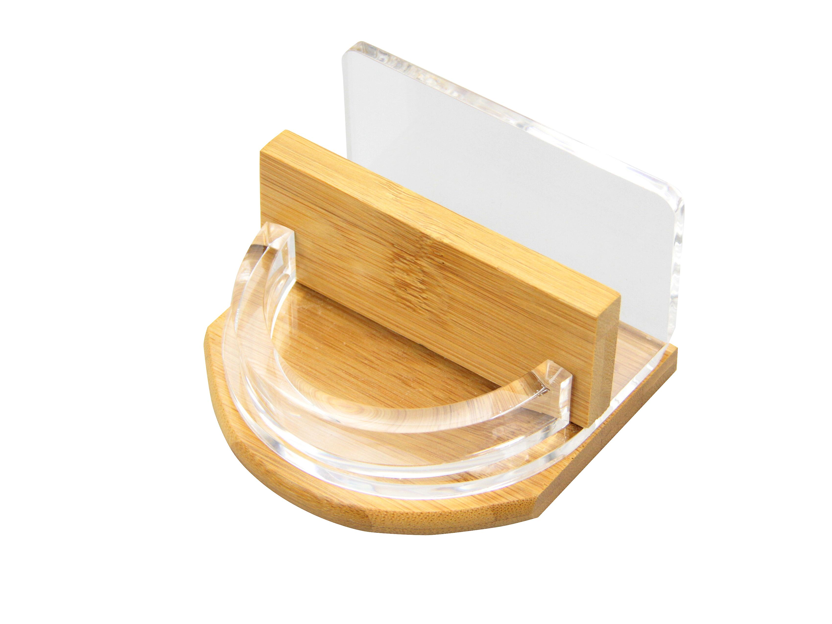 Woodquail Desk Business Cards Holder, Stationery Organiser Made of Bamboo & Acrylic