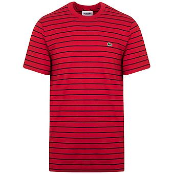 T-shirt con collo a strisce rosse e rosse Lacoste Red & Navy