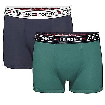 Tommy Hilfiger Boys 2 Pack AUTHENTIC Boxer Trunk, Bayberry / Navy Blazer, Medium