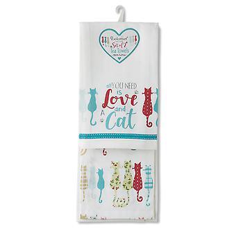 Cooksmart Pack of 2 Tea Towels, Colourful Cats