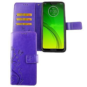 Motorola Moto G7 mobilnych pokrowiec pokrywy Flip sprawa przedziału fiolet