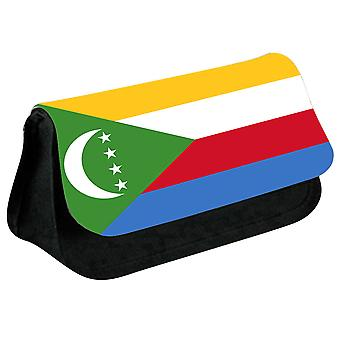 Comoros Flag Printed Design Pencil Case for Stationary/Cosmetic - 0038 (Black) by i-Tronixs