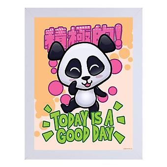 Handa Panda Today Is A Good Day White Wooden Framed Print