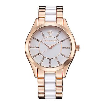 Timothy Stone Women's CHARME-BICOLOR Rose Gold-Tone and White Watch