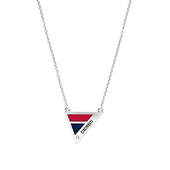 Cincinnati Reds Engraved Sterling Silver Diamond Geometric Necklace In Red & Blue