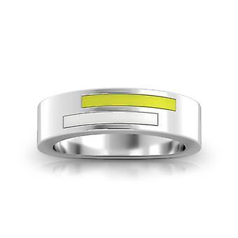 Simon Pagenaud Sterling Silver Asymmetric Enamel Ring In Yellow & White