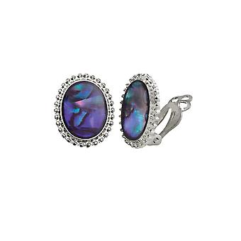 Eternal Collection Tidal Purple Paua Shell Cabochon Silver Tone Stud Clip On Earrings