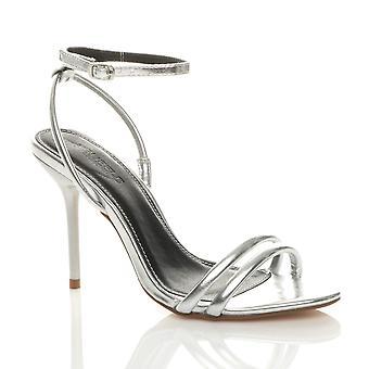 Ajvani Womens høj hæl næppe der ankel rem aften Party sandaler
