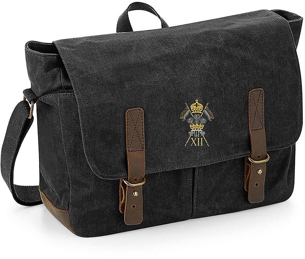12. Royal Lancers-licenseret British Army broderet voksbehandlet lærred Messenger taske