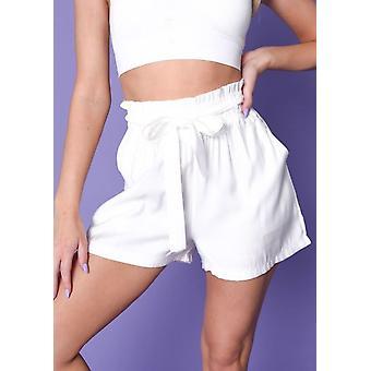 Paperbag stropdas taille shorts wit