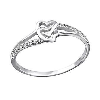 Heart - 925 Sterling Silver Jewelled Rings - W25260X