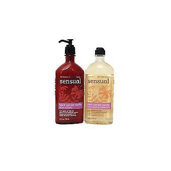 Bath & Body Works Aromatherapy Sensual Black Currant Vanilla Lotion & Body Wash Set (Pack of 2)