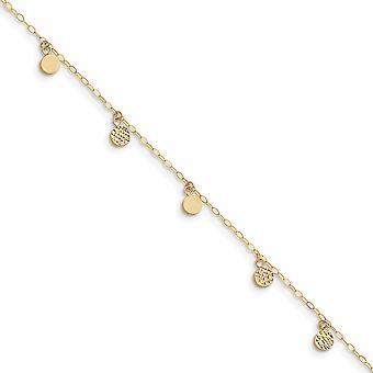 14k oro giallo lucido primavera anello Sparkle-Cut Hollow penzolare cerchio con 1 pollice Ext cavigliera