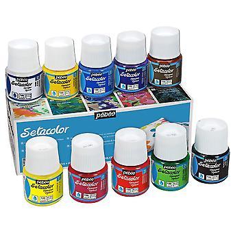 Pebeo Setacolor dekkend weefsel verf kleurenassortiment vak ingesteld 10 x 45ml