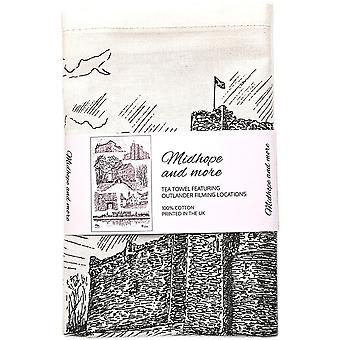 Midhope and more - Tea Towel Featuring Outlander Filming Locations by Mary's Meanders