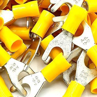 100 x Yellow Cable Crimp Fork Spade Terminals Connecteurs