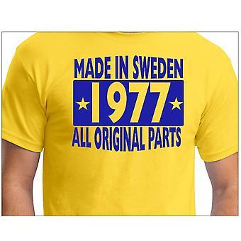 Camiseta amarela feita na Suécia 1977 TODAS AS Peças originais