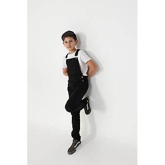 Matthew slim leg black bib overalls for boys