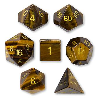 Set of 7 Handmade Stone Polyhedral Dice, Tiger's Eye