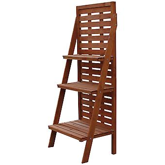 Outsunny Solid Wood Three-Tier Plant Rack Outdoor Organiser Unit Flower Herb Stand Ladder Design Storage Holder