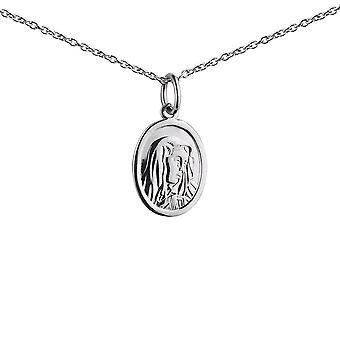 Silver 14x11mm oval Our Lady of Sorrows Pendant with a 1mm wide rolo Chain 24 inches