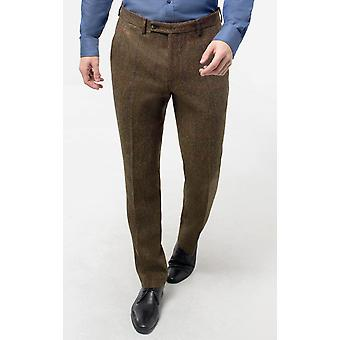 Moon Mens Brown Overcheck Tweed Suit Trousers Regular Fit 100% Wool